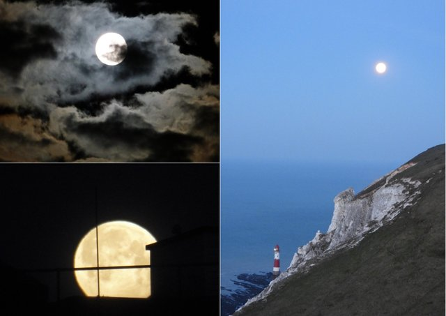Readers have been sharing their images of the 'pink' supermoon. Photographs, clockwise from bottom left, by Mandy Turner, David Smart and Tara White