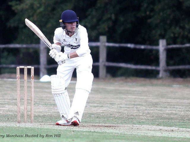 Harry  Marchesi bats for Buxted Park at Newick / Picture by Ron Hill