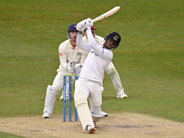 Delray Rawlins hits out on his way to 42 against Lancashire / Picture: Getty