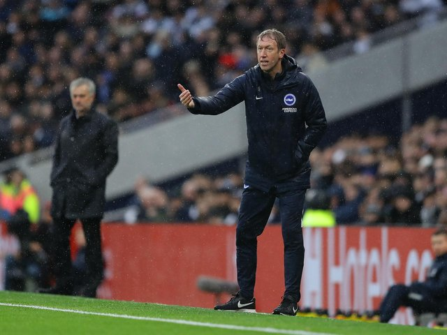 Brighton & Hove Albion head coach Graham Potter gives his team instructions during the Premier League match between Tottenham Hotspur and Brighton & Hove Albion at Tottenham Hotspur Stadium on Boxing Day 2019. Picture by Richard Heathcote/Getty Images