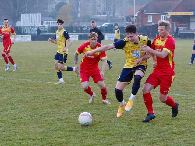 Newhaven in action at Eastbourne Town / Picture: Joe Knight - Seaside Photography