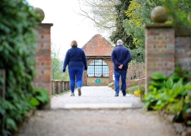 Visitors in the gardens of Standen, East Grinstead. Photograph: Steve Robards/ SR2104291 (31)
