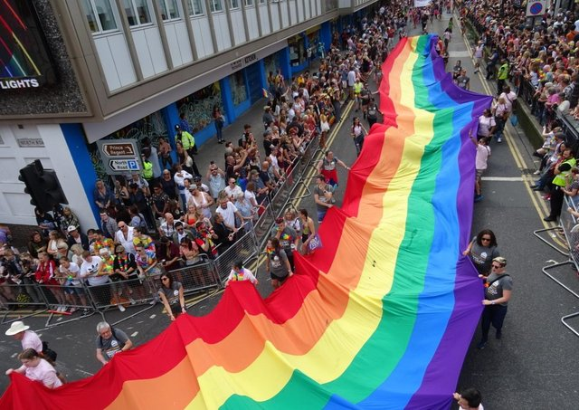 Crowds gather for the Pride parade in 2019