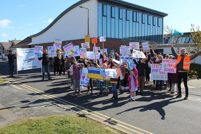 Pupils, parents and teachers protest at Peacehaven Heights school