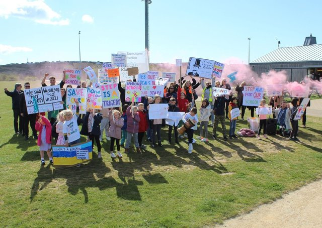 Pupils, parents and teachers protesting at Peacehaven Heights school on May 5