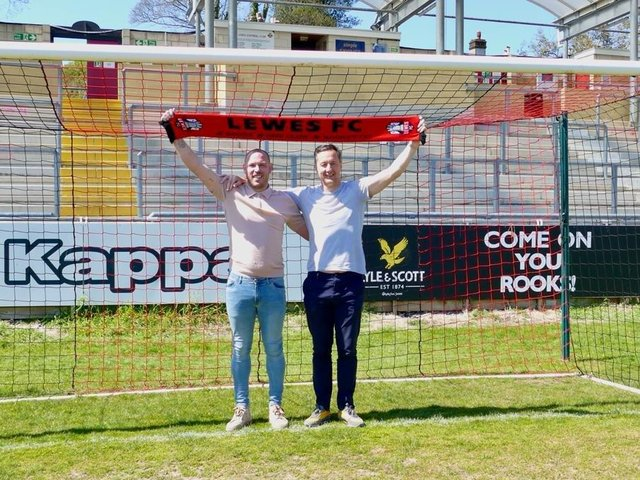 New Lewes manager Tony Russell (right) and his assistant Joe Vines. Picture courtesy of Lewes Football Club
