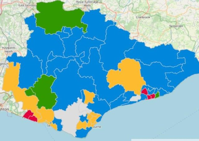 New political map of East Sussex County Council