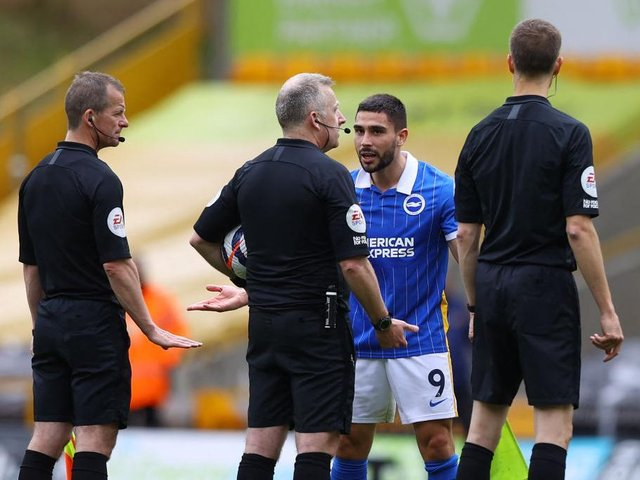 Neal Maupay lost his cool after the final whistle at Wolves