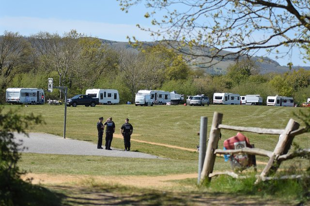 The travellers on Adur Park, Stone Cross on Friday (May 7) SUS-210705-123924001