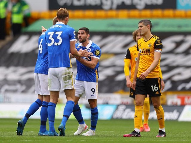 Neal Maupay was dismissed after the final whistle at Wolves for foul and abusive language