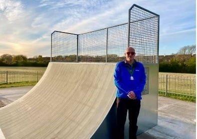 Deputy Mayor Dan Dunbar at the skate park. Photo by Polegate Town Council. SUS-211205-125715001