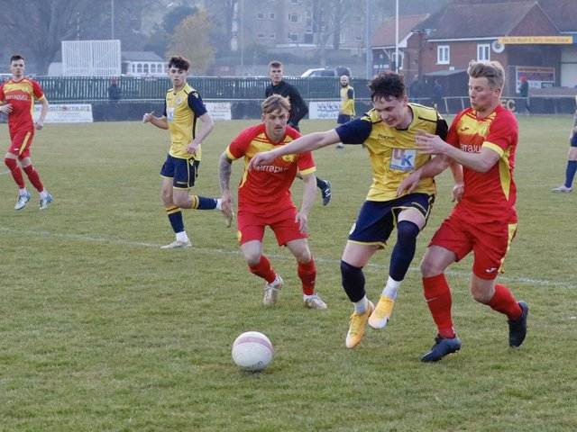 Newhaven in action at Eastbourne Town in the shield group stages / Picture: Joe Knight
