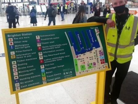Brighton and other stations in Sussex have new tactile maps with raised symbols and lettering for people who are blind or partially sighted. Picture courtesy of Govia Thameslink Railway