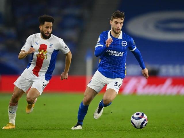Brighton's Joel Veltman is struggling with a calf injury