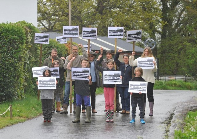 East Chiltington villagers protesting against the proposals. Photo by Charlotte Boulton