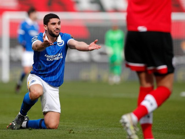 Neal Maupay is suspended for the visit of Manchester City to the Amex Stadium tomorrow