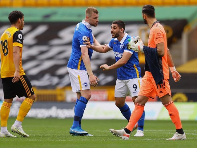 Neal Maupay was sent off after the final whistle at Wolves