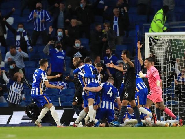 Brighton celebrate against Man City at the Amex Stadium