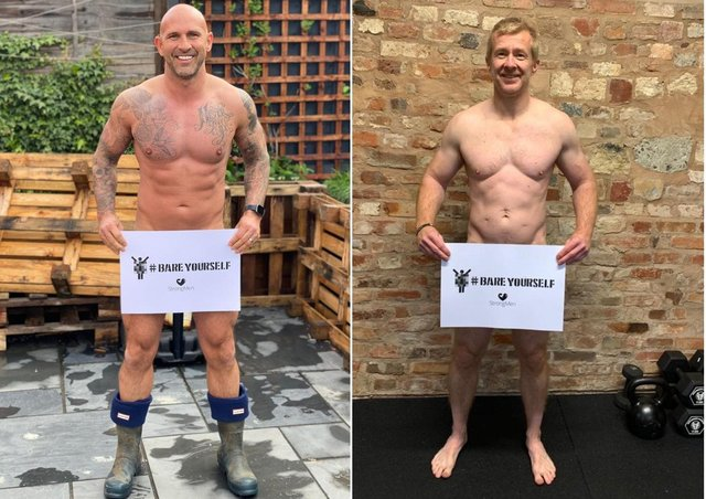 StrongMen founders Dan Cross, left, and Efrem Brynin promoting the Bare Yourself campaign