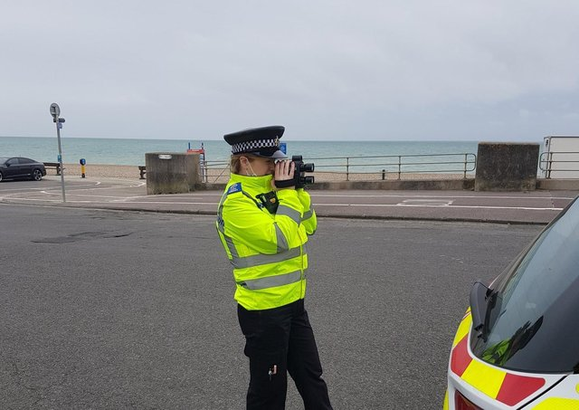 Officers carrying out speed checks in the district. Photo: Lewes Police/Twitter