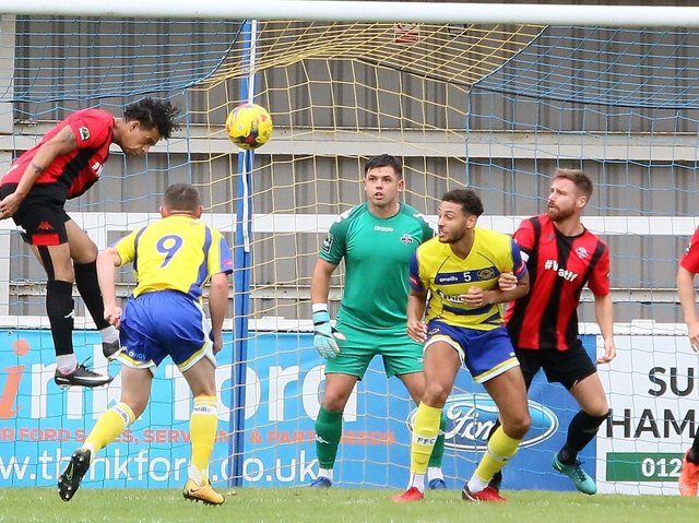 Lewis Carey (centre) is one of four new players to have joined Lewes in the off-season. Picture by Angela Brinkhurst