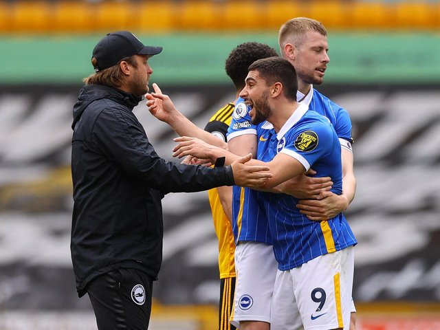 Neal Maupay was sent off for foul and abusive language after the final whistle at Wolves