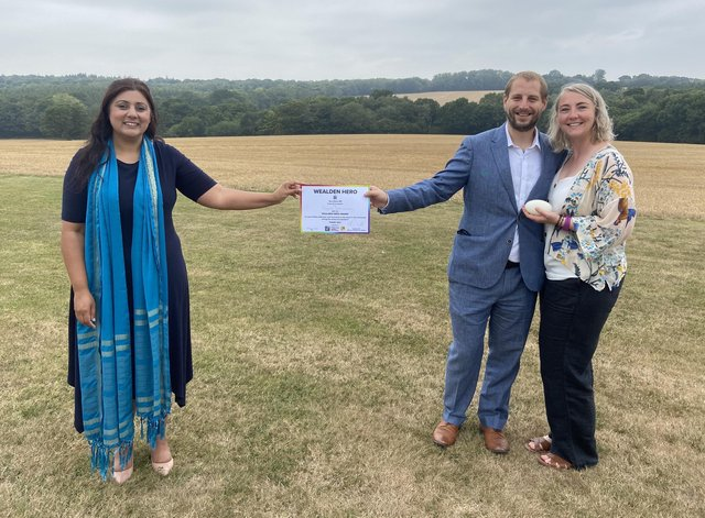 Wealden MP Nus Ghani awards English Soap Company with Wealden Hero Award 2020, owners Oliver Butts and Ailsa Cunningham SUS-200827-091008001