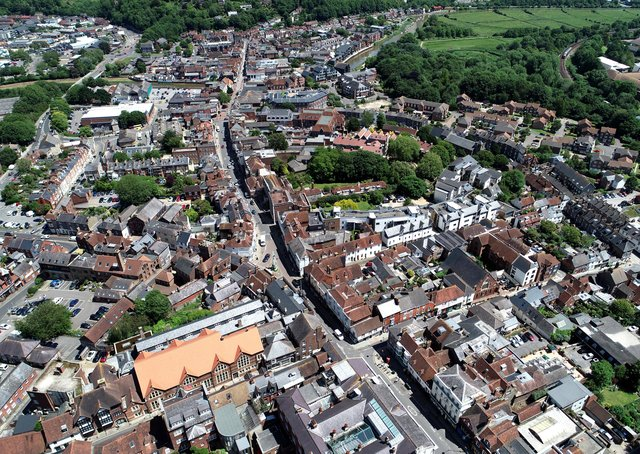 An aerial view of Lewes. Photograph: Peter Cripps/ 26-6-19 (1)