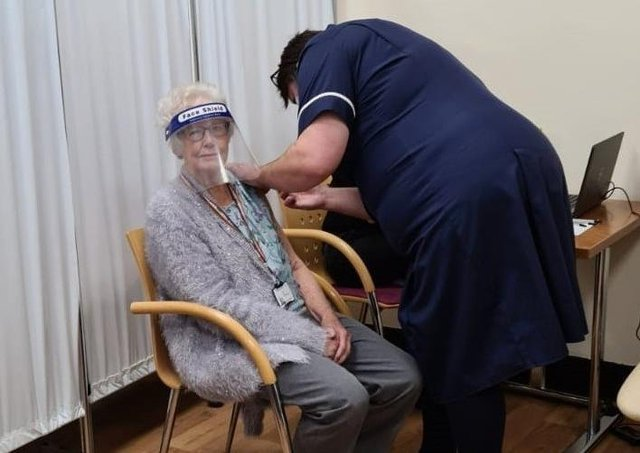 Bidge Garton, 89, of Ringmer, was one of the first people in Sussex to be vaccinated when the programme launched in December 2020. Picture: Sussex NHS Commissioners