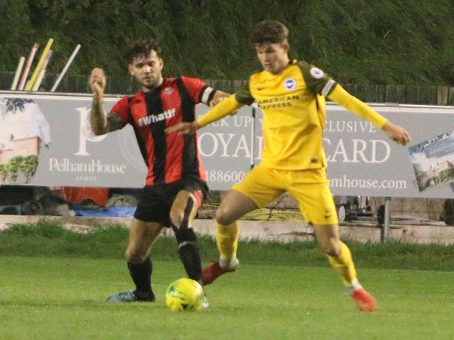 Action from Lewes' Sussex Senior Cup clash with Brighton & Hove Albion under-23s in 2018