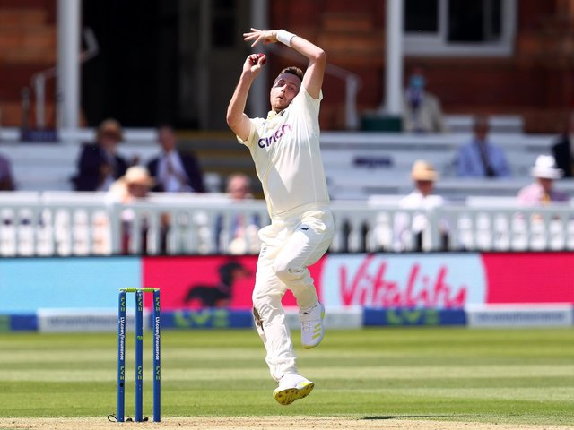Ollie Robinson steams in at Lord's on his Test debut / Picture: Getty