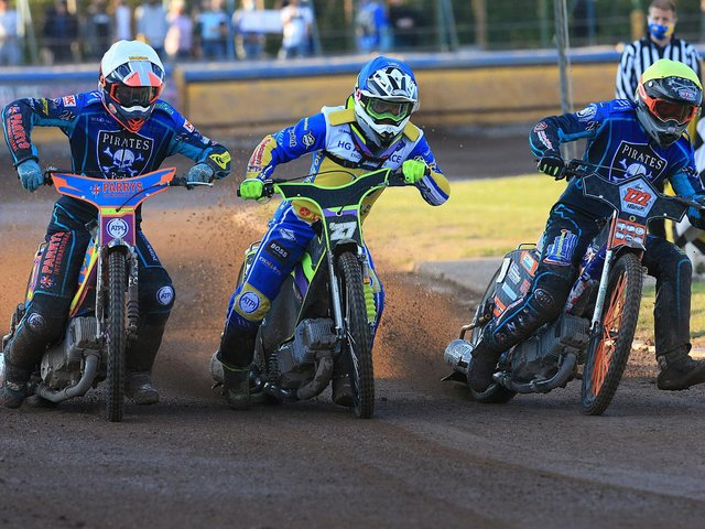 Eastbourne Eagles do battle with Poole Pirates / Picture: Mike Hinves