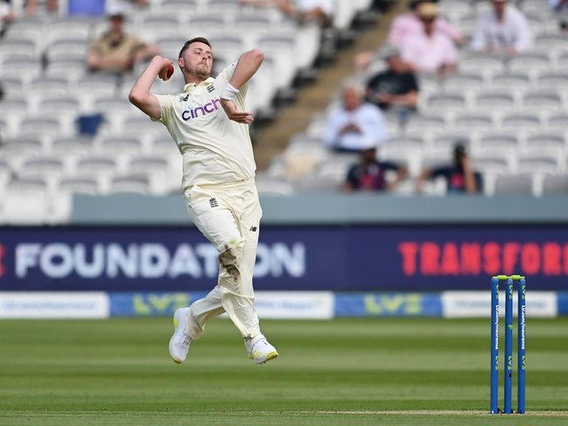 Ollie Robinson bowling on his Test debut