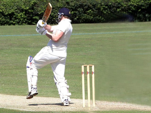Huw Williams on his way to 93 for Isfield at Buxted Park / Picture: Ron Hill