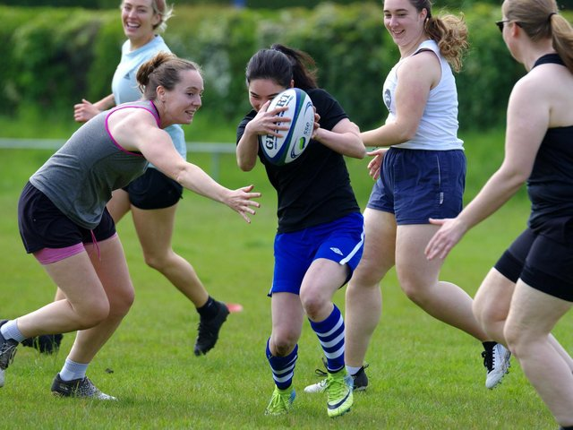 A touch rugby demonstration was staged before the Lewes-Uckfield match / Picture: Danny Simpson