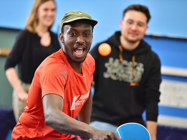 Claude Umuhire playing at Brighton Table Tennis Club
