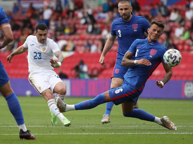 Ben White in action against Romania on Sunday