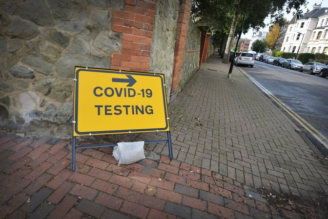 Covid Testing Centre signs in Eastbourne. SUS-201020-152413001