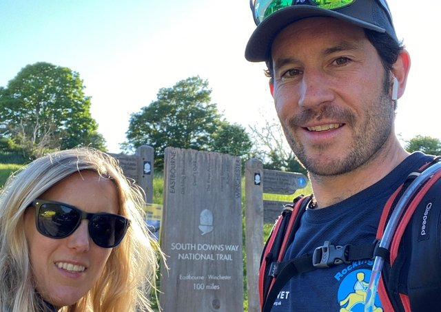 Josh Braid from Hurstpierpoint, pictured with his wife Francesca, walked the 170km South Downs Way to raise money for Rockinghorse.