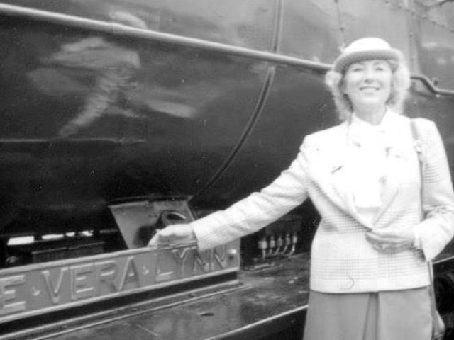 Dame Vera Lynn with the locomotive named after her