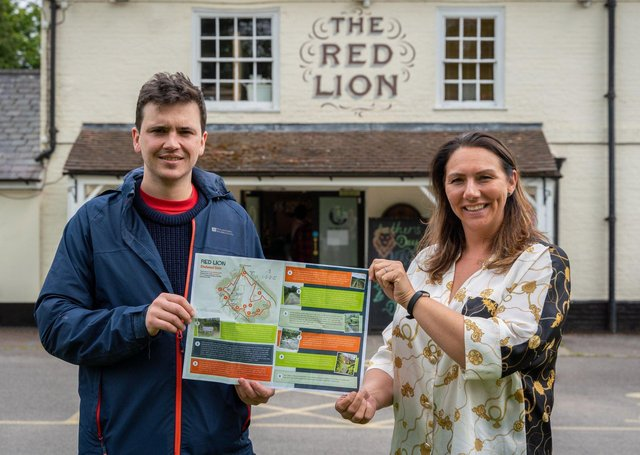Thomas Parkhouse with Red Lion licensee Angelena Churcher. Picture: Frankie Julian