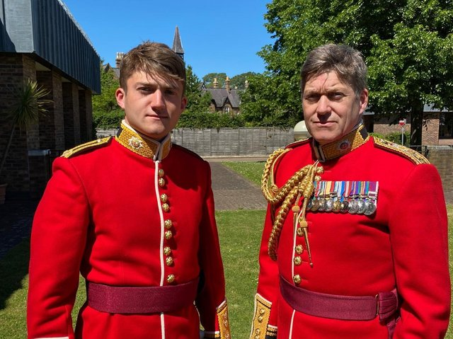 Colonel Jeremy Bagshaw (Right) with his son Second Lieutenant Henry Bagshaw, Coldstream Guards (left) dressed for the rehearsal for the Queen's Birthday Parade