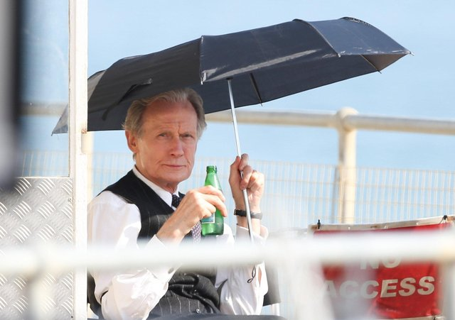Bill Nighy was filming at Worthing Lido this week. Other actors were seen wearing what looked to be 1950s clothing.