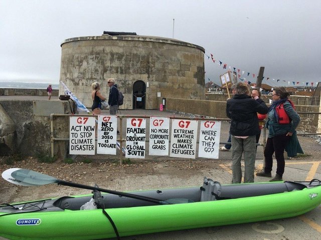 Campaigners raised their banners in protest