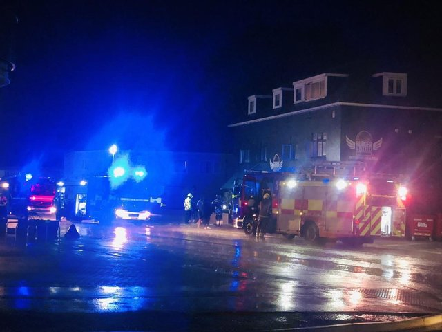 Firefighters at the scene last night. Photo by Aidan Skinner