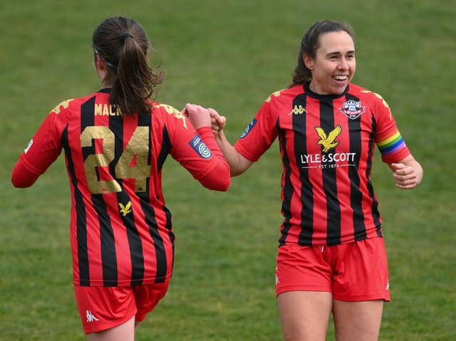 Skipper and multiple 2020-21 Player of the Season award winner Rhian Cleverly (right) has committed to Lewes Women for next season. Picture by Mike Hewitt/Getty Images