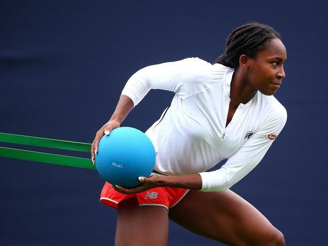 Coco Gauff on court on the opening day of the 2021 Viking International at Devonshire Park, Eastbourne / Pictures: Charlie Crowhurst, Getty
