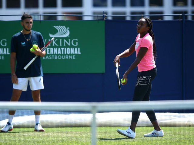 Cori Gauff during a practice session during day two of the Viking International Eastbourne at Devonshire Park / Picture: Charlie Crowhurst/Getty Images