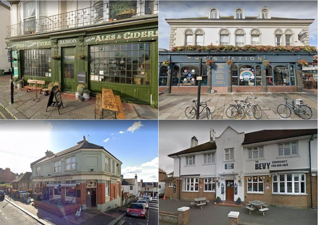 Four of the top 12 pubs and bars in East Sussex, according to TripAdvisor reviewers. Photographs: Google Maps
