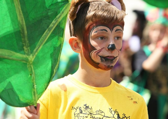 A pupil in the 2019 Moving On parade, which had the theme children's literature and title Once upon a Moving On. Photograph: Derek Martin/ DM1970891a